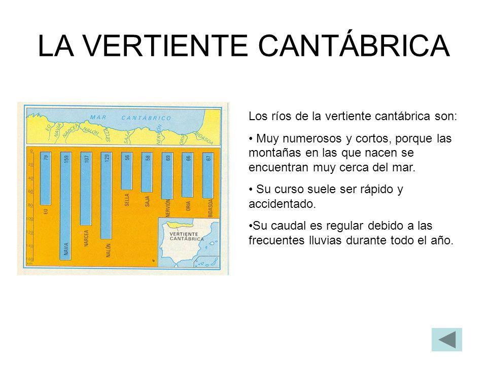 LA VERTIENTE ATLÁNTICA En esta vertiente se pueden distinguir: Los ríos gallegos.