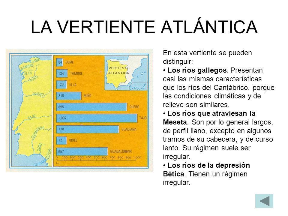 LA VERTIENTE ATLÁNTICA En esta vertiente se pueden distinguir: Los ríos gallegos. Presentan casi las mismas características que los ríos del Cantábric