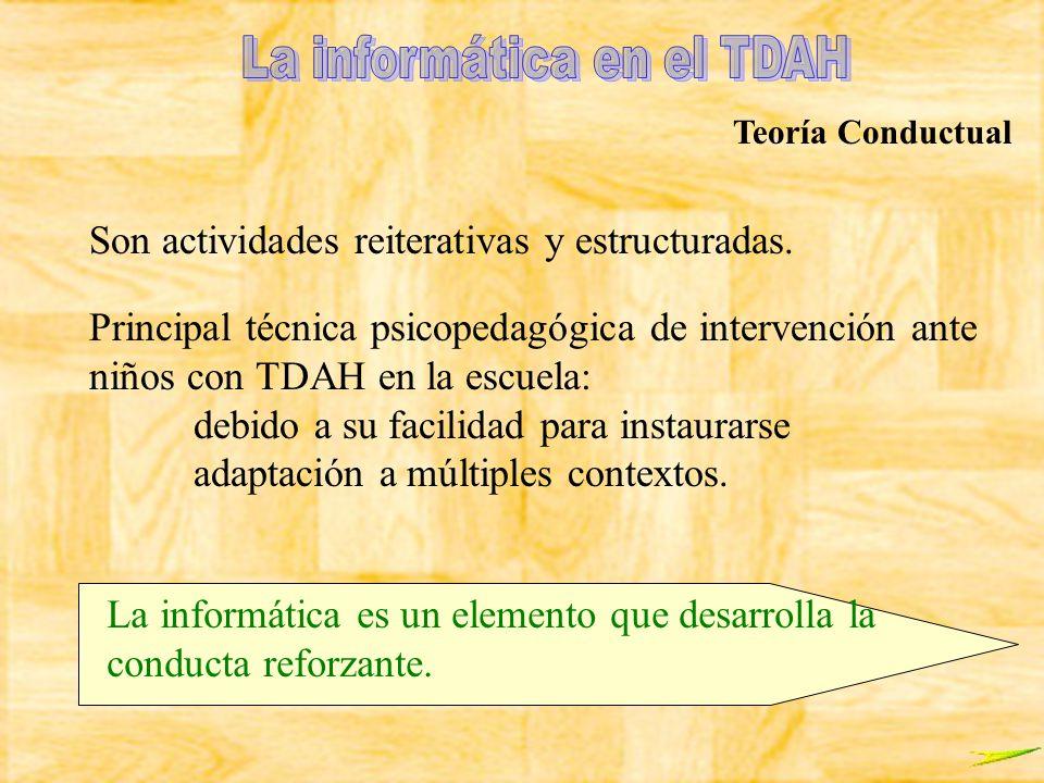 Teoría Conductual Son actividades reiterativas y estructuradas. Principal técnica psicopedagógica de intervención ante niños con TDAH en la escuela: d