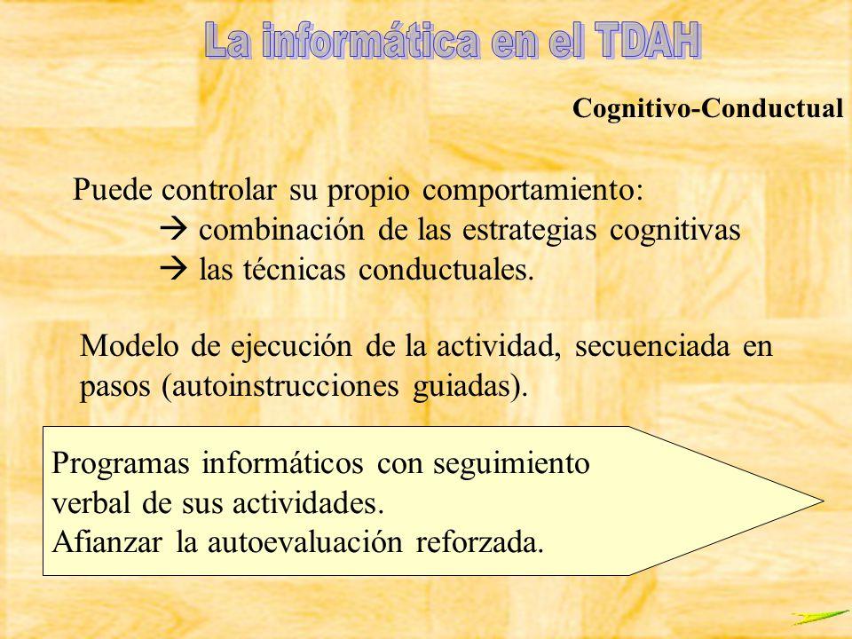 Cognitivo-Conductual Modelo de ejecución de la actividad, secuenciada en pasos (autoinstrucciones guiadas). Puede controlar su propio comportamiento: