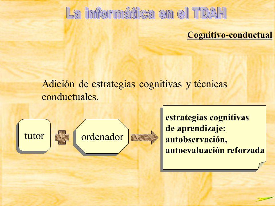 Cognitivo-conductual Adición de estrategias cognitivas y técnicas conductuales. tutor ordenador estrategias cognitivas de aprendizaje: autobservación,