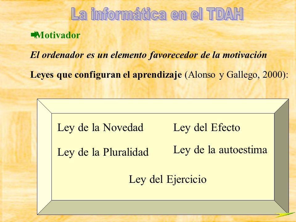 Motivador El ordenador es un elemento favorecedor de la motivación Leyes que configuran el aprendizaje (Alonso y Gallego, 2000): Ley del EfectoLey de