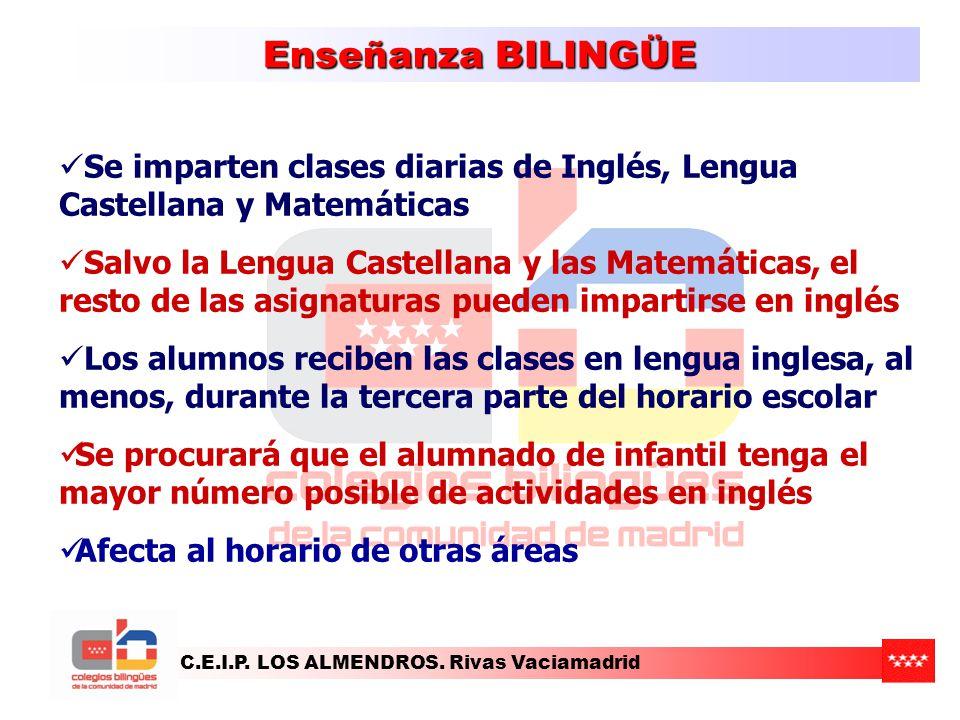 C.E.I.P. LOS ALMENDROS. Rivas Vaciamadrid Enseñanza BILINGÜE Se imparten clases diarias de Inglés, Lengua Castellana y Matemáticas Salvo la Lengua Cas