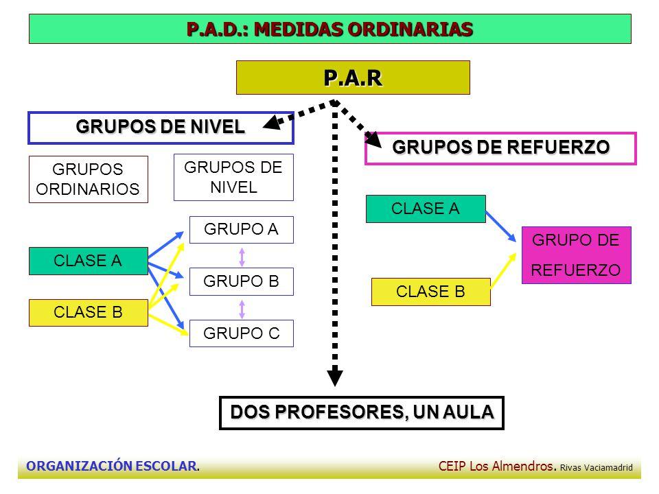 ORGANIZACIÓN ESCOLAR. CEIP Los Almendros. Rivas Vaciamadrid P.A.R P.A.D.: MEDIDAS ORDINARIAS GRUPOS DE NIVEL DOS PROFESORES, UN AULA GRUPOS DE REFUERZ