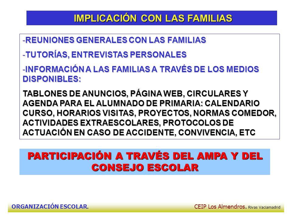 ORGANIZACIÓN ESCOLAR. CEIP Los Almendros. Rivas Vaciamadrid IMPLICACIÓN CON LAS FAMILIAS IMPLICACIÓN CON LAS FAMILIAS -REUNIONES GENERALES CON LAS FAM
