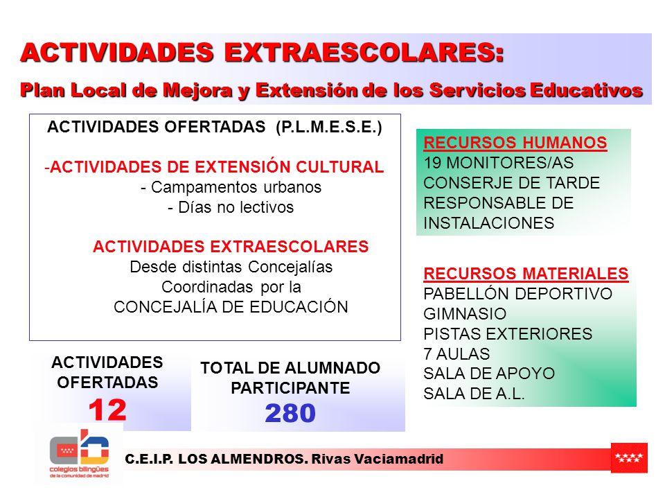 C.E.I.P. LOS ALMENDROS. Rivas Vaciamadrid ACTIVIDADES OFERTADAS (P.L.M.E.S.E.) -ACTIVIDADES DE EXTENSIÓN CULTURAL - Campamentos urbanos - Días no lect