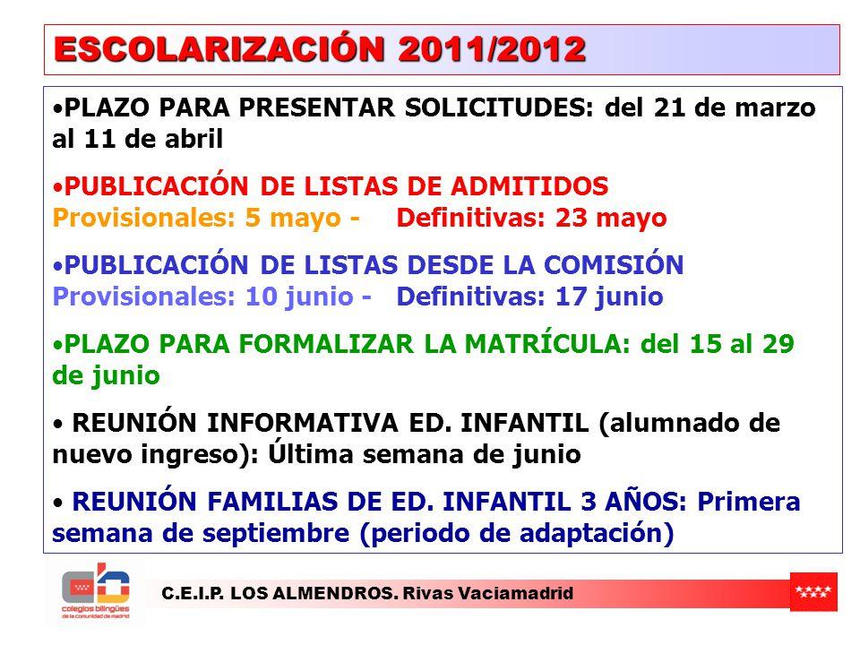 C.E.I.P. LOS ALMENDROS. Rivas Vaciamadrid ESCOLARIZACIÓN 2011/2012 PLAZO PARA PRESENTAR SOLICITUDES: del 21 de marzo al 11 de abril PUBLICACIÓN DE LIS