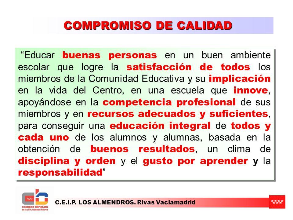 C.E.I.P. LOS ALMENDROS. Rivas Vaciamadrid COMPROMISO DE CALIDAD Educar buenas personas en un buen ambiente escolar que logre la satisfacción de todos