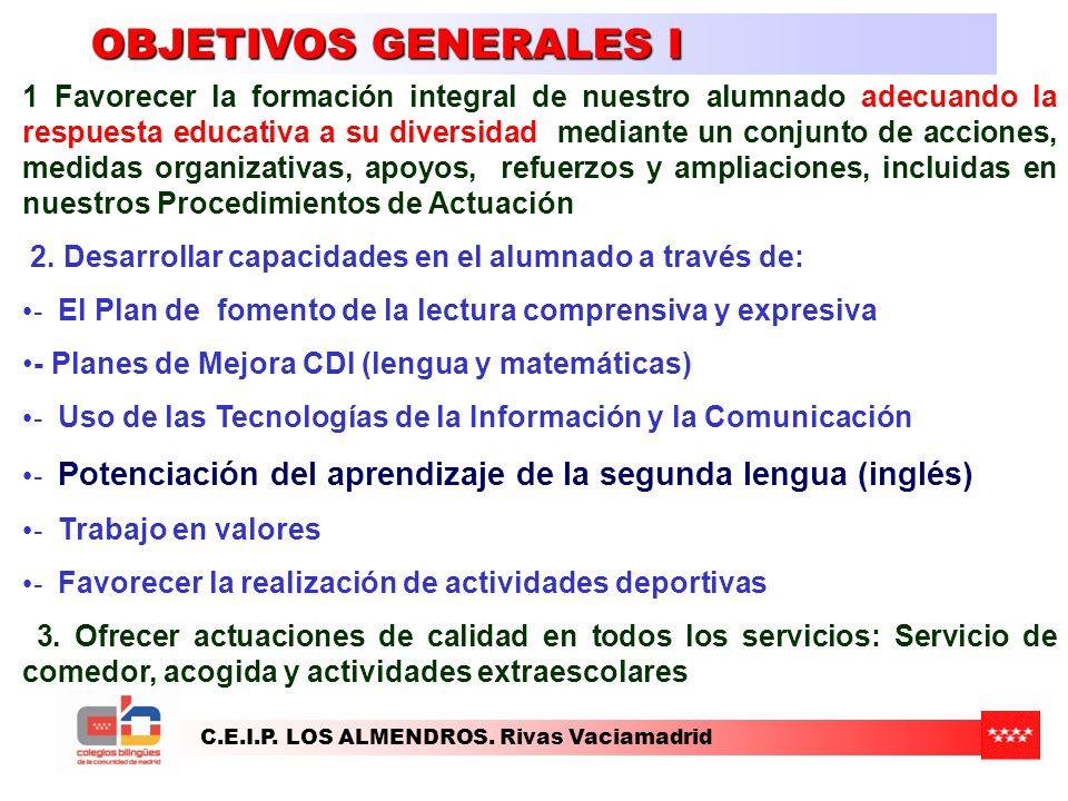 C.E.I.P. LOS ALMENDROS. Rivas Vaciamadrid OBJETIVOS GENERALES I 1 Favorecer la formación integral de nuestro alumnado adecuando la respuesta educativa