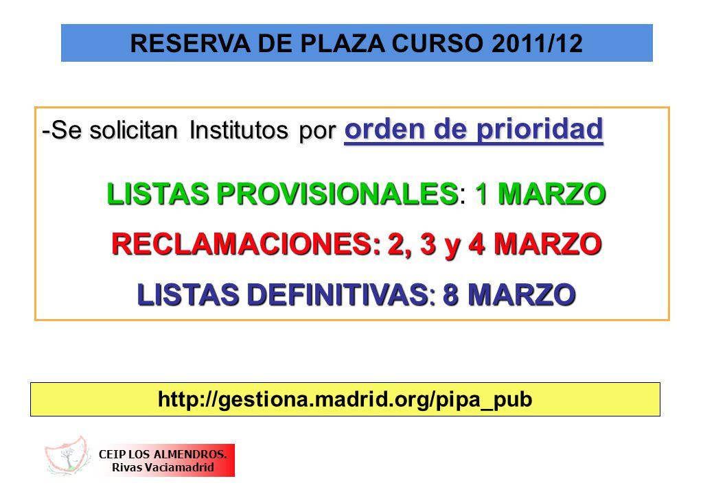CEIP LOS ALMENDROS. Rivas Vaciamadrid RESERVA DE PLAZA CURSO 2011/12 -Se solicitan Institutos por orden de prioridad LISTAS PROVISIONALES: 1 MARZO LIS
