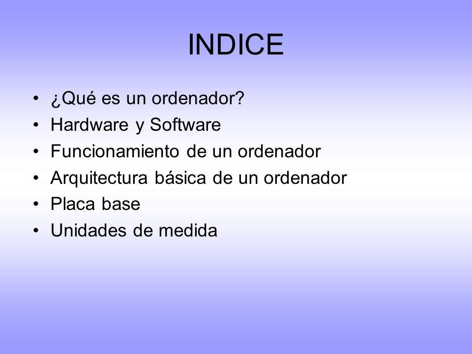 INDICE ¿Qué es un ordenador? Hardware y Software Funcionamiento de un ordenador Arquitectura básica de un ordenador Placa base Unidades de medida