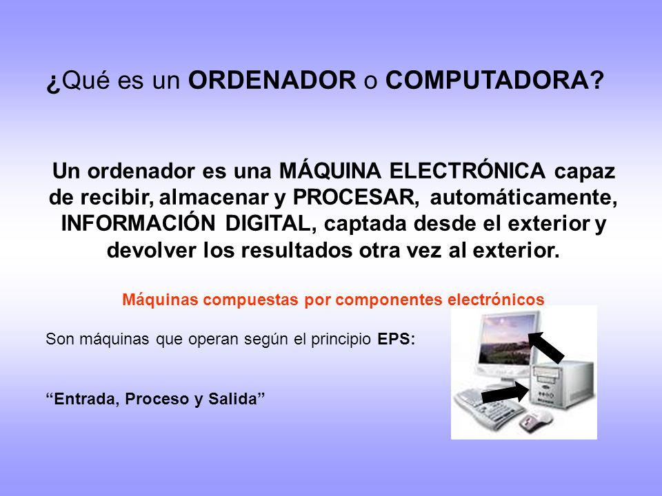 ¿Qué es un ORDENADOR o COMPUTADORA? Un ordenador es una MÁQUINA ELECTRÓNICA capaz de recibir, almacenar y PROCESAR, automáticamente, INFORMACIÓN DIGIT