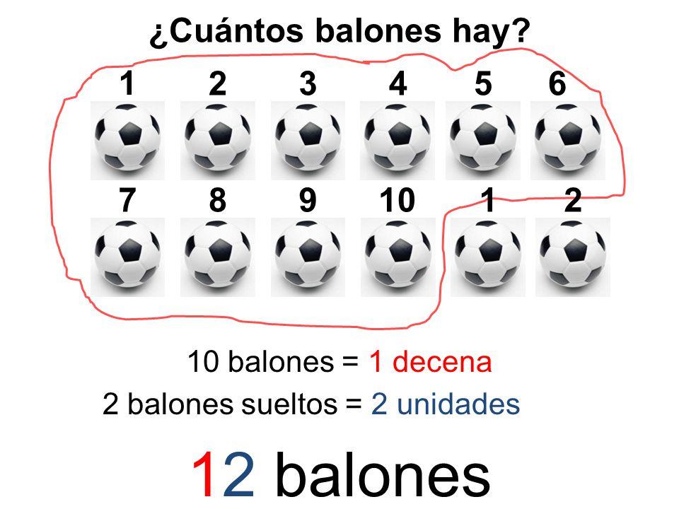 ¿Cuántos balones hay? 1 25346 78910 10 balones = 1 decena 12 2 balones sueltos = 2 unidades 12 balones