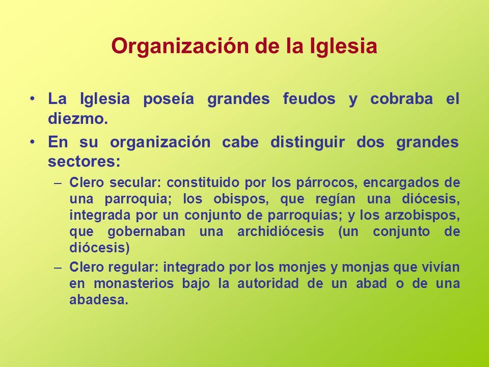 Organización de la Iglesia La Iglesia poseía grandes feudos y cobraba el diezmo.