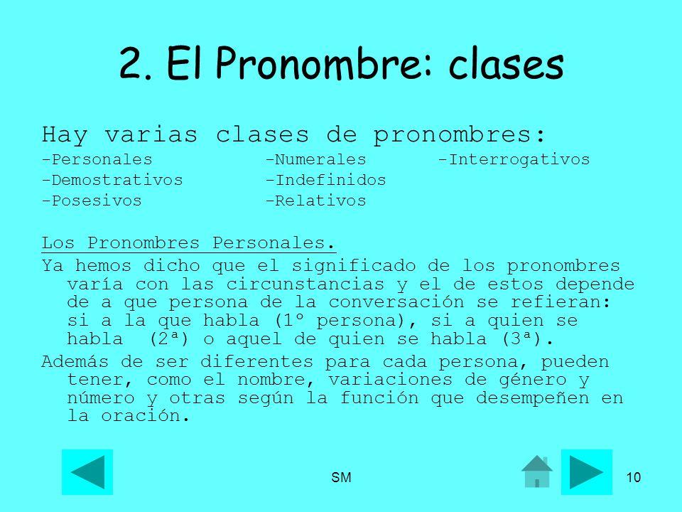 SM10 2. El Pronombre: clases Hay varias clases de pronombres: -Personales -Numerales -Interrogativos -Demostrativos -Indefinidos -Posesivos -Relativos