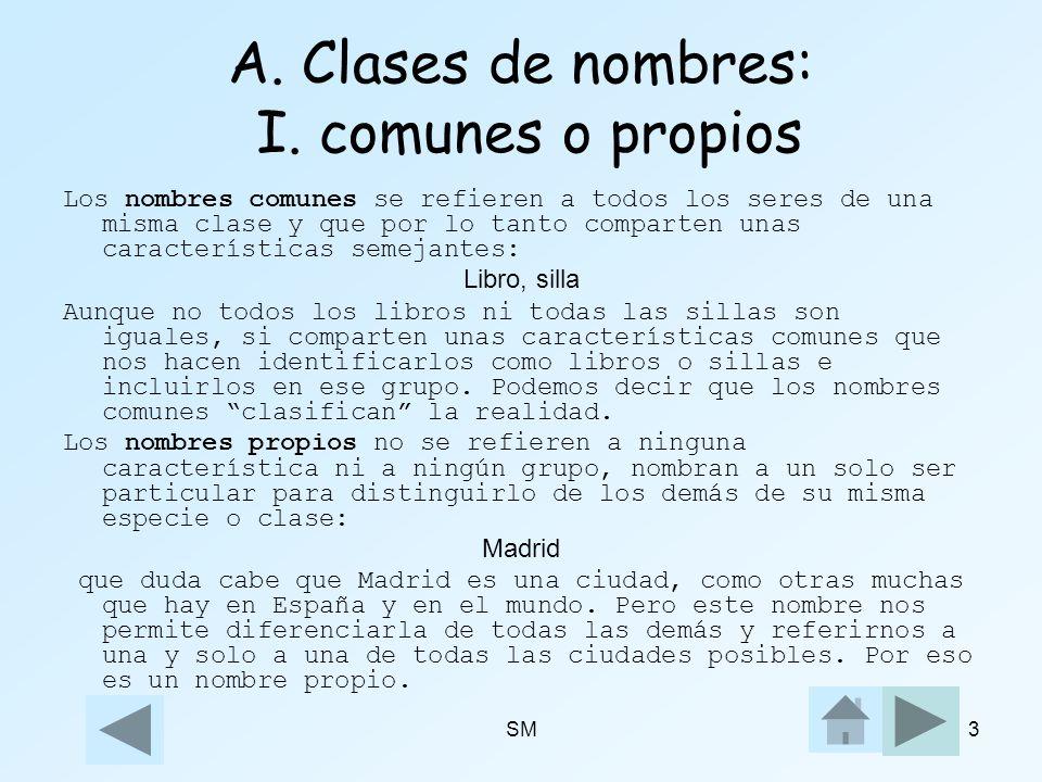 SM3 A. Clases de nombres: I. comunes o propios Los nombres comunes se refieren a todos los seres de una misma clase y que por lo tanto comparten unas