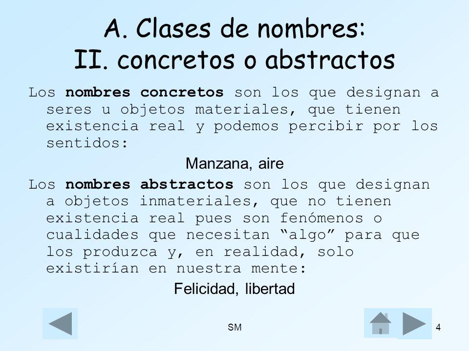 SM4 A. Clases de nombres: II. concretos o abstractos Los nombres concretos son los que designan a seres u objetos materiales, que tienen existencia re