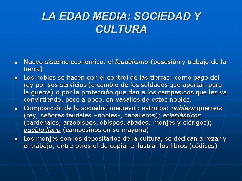 LA EDAD MEDIA: SOCIEDAD Y CULTURA Nuevo sistema económico: el feudalismo (posesión y trabajo de la tierra) Nuevo sistema económico: el feudalismo (pos