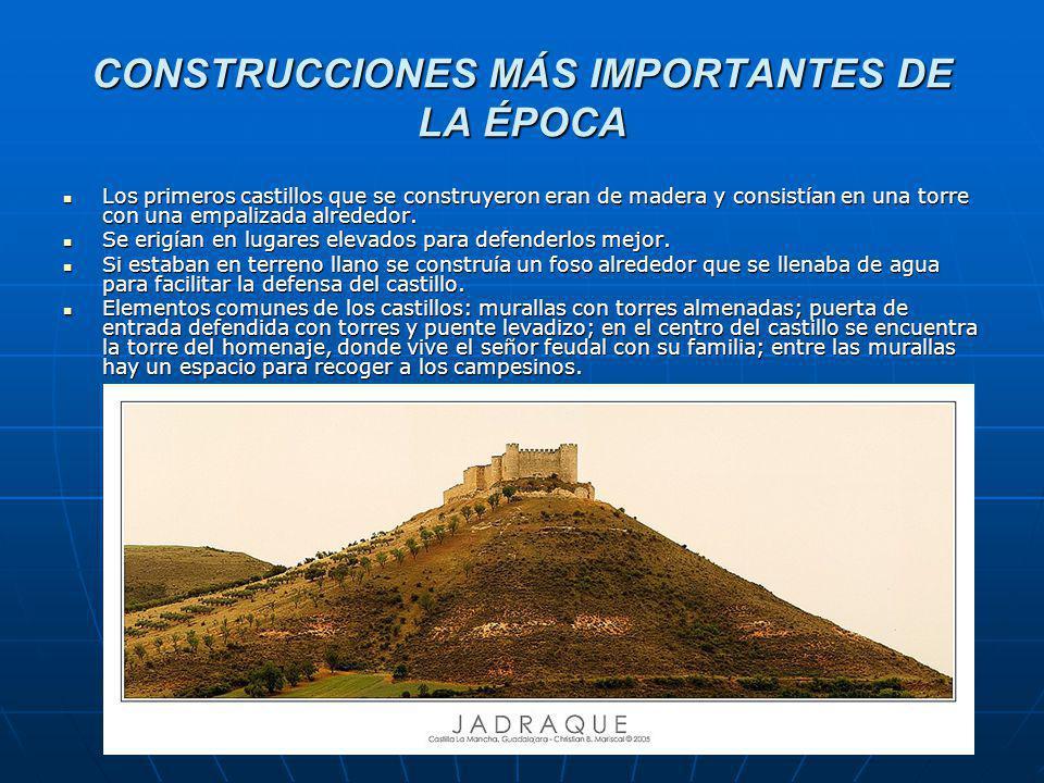 CONSTRUCCIONES MÁS IMPORTANTES DE LA ÉPOCA Los primeros castillos que se construyeron eran de madera y consistían en una torre con una empalizada alrededor.