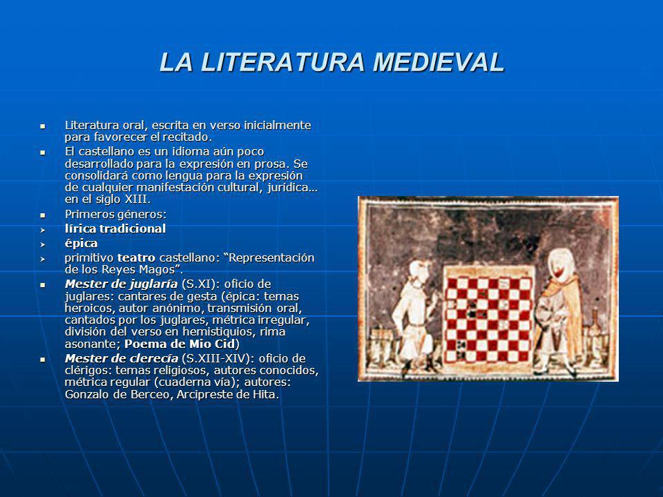 LA LITERATURA MEDIEVAL Literatura oral, escrita en verso inicialmente para favorecer el recitado. Literatura oral, escrita en verso inicialmente para