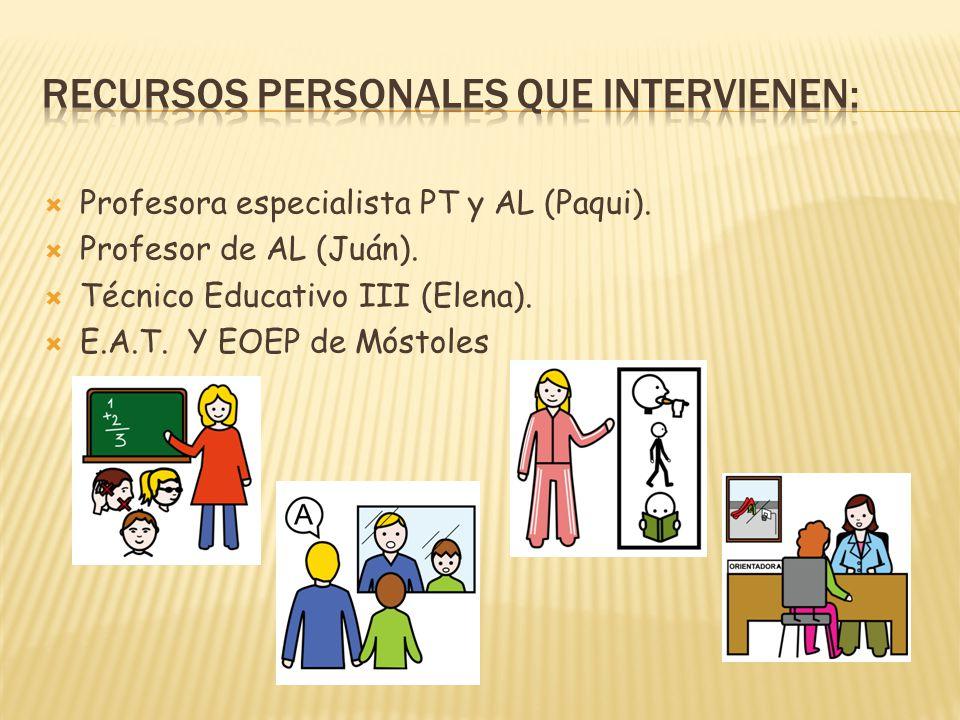 Profesora especialista PT y AL (Paqui). Profesor de AL (Juán). Técnico Educativo III (Elena). E.A.T. Y EOEP de Móstoles
