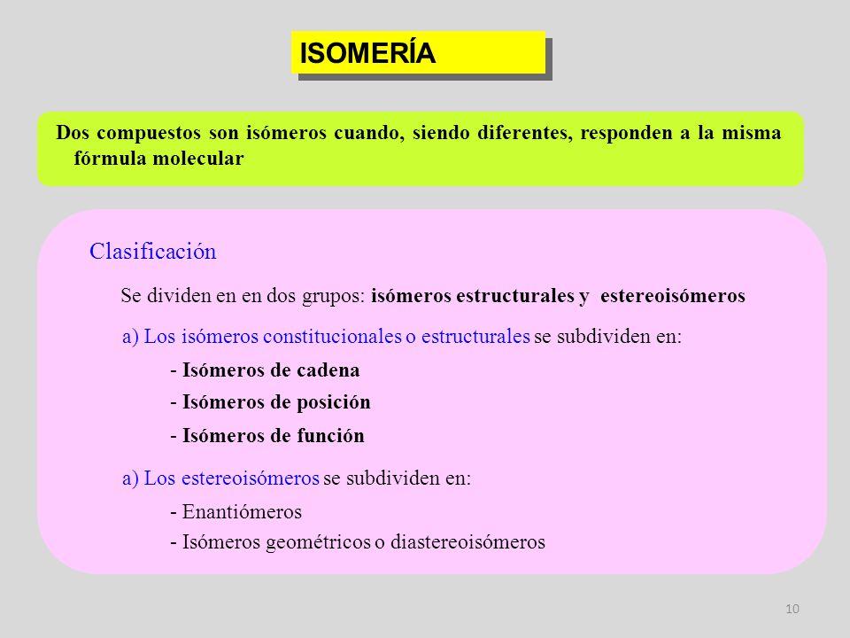 10 ISOMERÍA Clasificación Dos compuestos son isómeros cuando, siendo diferentes, responden a la misma fórmula molecular Se dividen en en dos grupos: i
