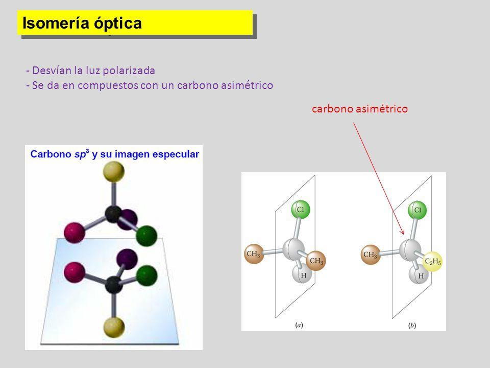 Isomería óptica - Desvían la luz polarizada - Se da en compuestos con un carbono asimétrico carbono asimétrico