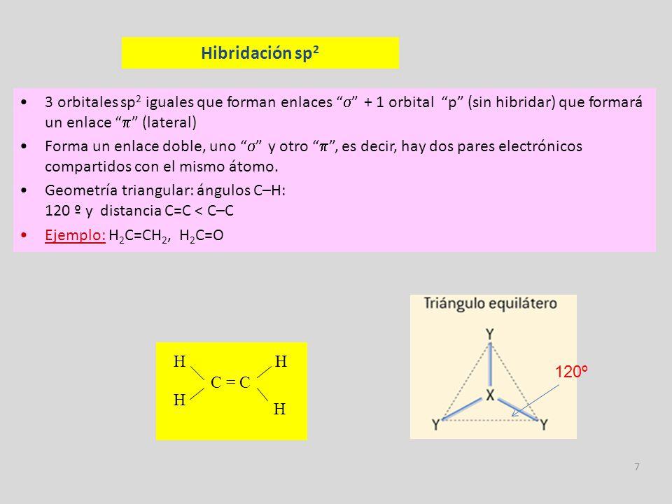 8 Hibridación sp 2 orbitales sp iguales que forman enlaces + 2 orbitales p (sin hibridar) que formarán sendos enlaces Forma bien un enlace triple –un enlace y dos –, es decir, hay tres pares electrónicos compartidos con el mismo átomo, o bien dos enlaces dobles, si bien este caso es más raro.