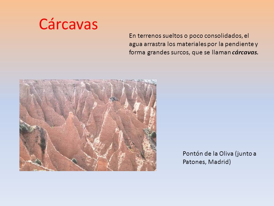 Cárcavas En terrenos sueltos o poco consolidados, el agua arrastra los materiales por la pendiente y forma grandes surcos, que se llaman cárcavas. Pon