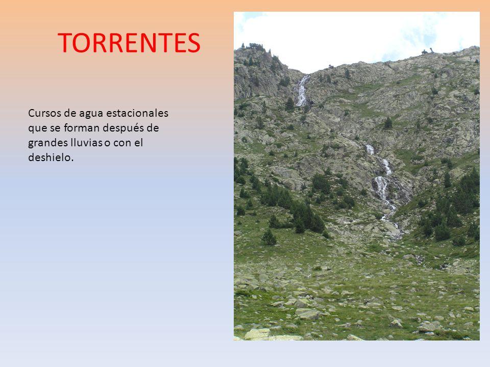 TORRENTES Cursos de agua estacionales que se forman después de grandes lluvias o con el deshielo.