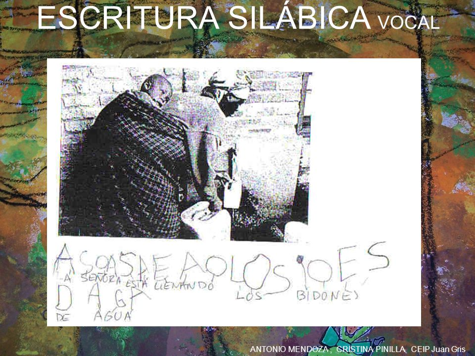 ANTONIO MENDOZA, CRISTINA PINILLA CEIP Juan Gris ESCRITURA SILÁBICA VOCAL