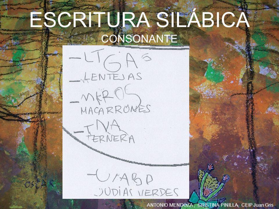 ANTONIO MENDOZA, CRISTINA PINILLA CEIP Juan Gris ESCRITURA SILÁBICA CONSONANTE