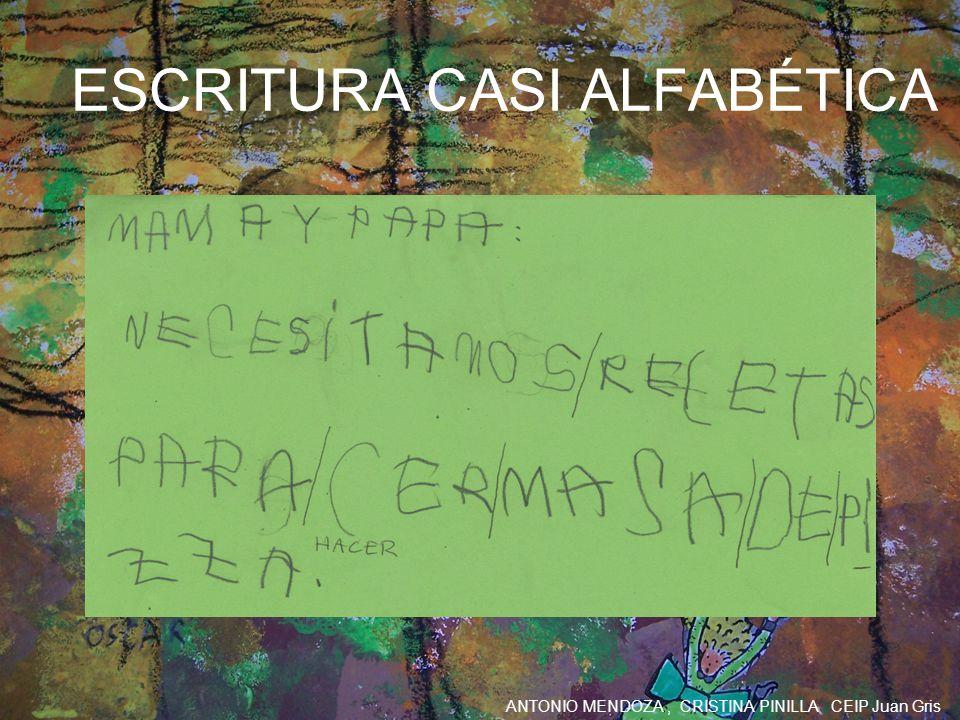 ANTONIO MENDOZA, CRISTINA PINILLA CEIP Juan Gris ESCRITURA CASI ALFABÉTICA