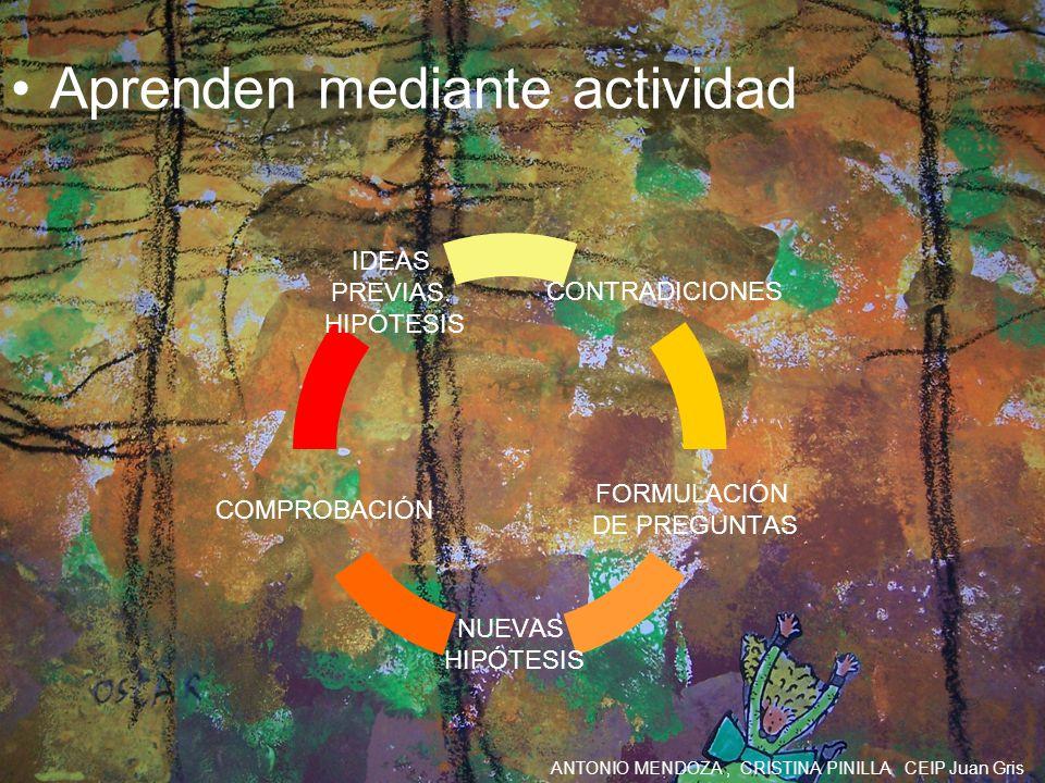 ANTONIO MENDOZA, CRISTINA PINILLA CEIP Juan Gris Aprenden mediante actividad CONTRADICIONES FORMULACIÓN DE PREGUNTAS NUEVAS HIPÓTESIS COMPROBACIÓN IDE
