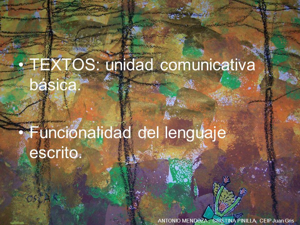 ANTONIO MENDOZA, CRISTINA PINILLA CEIP Juan Gris TEXTOS: unidad comunicativa básica. Funcionalidad del lenguaje escrito.