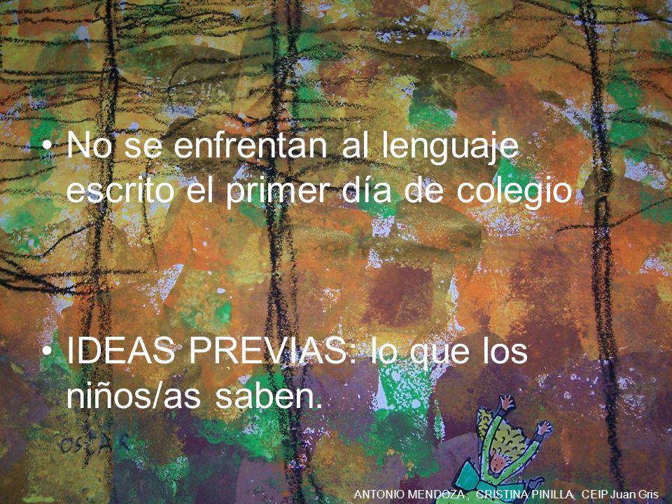 ANTONIO MENDOZA, CRISTINA PINILLA CEIP Juan Gris No se enfrentan al lenguaje escrito el primer día de colegio IDEAS PREVIAS: lo que los niños/as saben