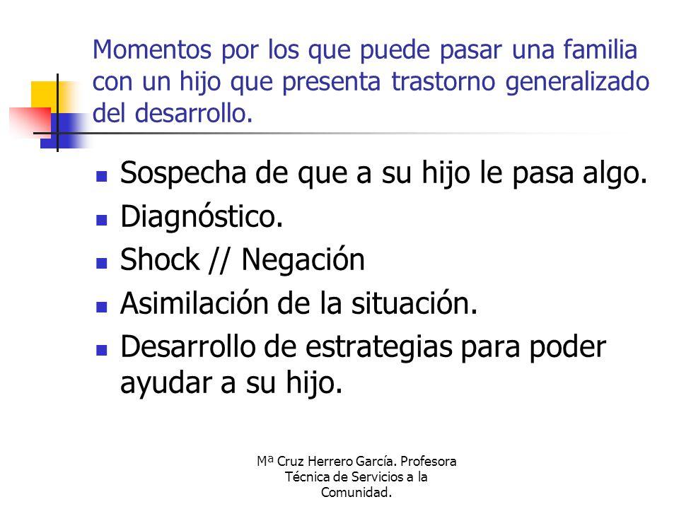 Mª Cruz Herrero García. Profesora Técnica de Servicios a la Comunidad. Momentos por los que puede pasar una familia con un hijo que presenta trastorno