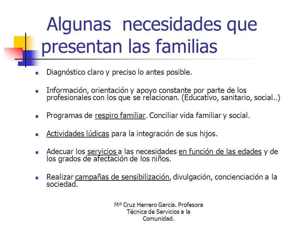 Mª Cruz Herrero García. Profesora Técnica de Servicios a la Comunidad. Algunas necesidades que presentan las familias Diagnóstico claro y preciso lo a