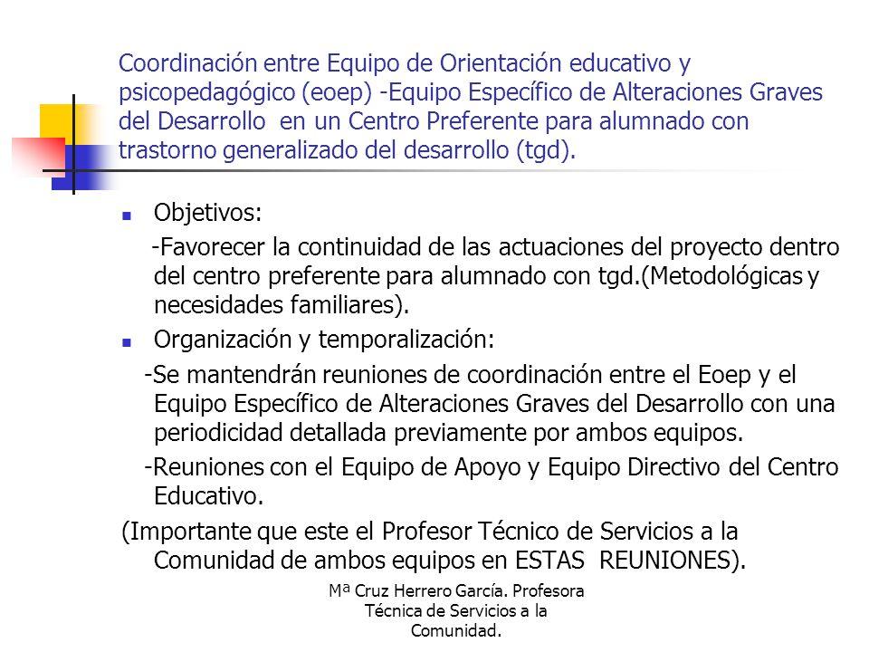 Mª Cruz Herrero García. Profesora Técnica de Servicios a la Comunidad. Coordinación entre Equipo de Orientación educativo y psicopedagógico (eoep) -Eq