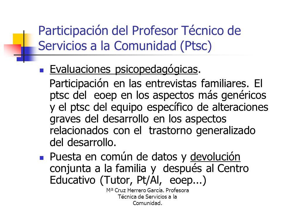 Mª Cruz Herrero García. Profesora Técnica de Servicios a la Comunidad. Participación del Profesor Técnico de Servicios a la Comunidad (Ptsc) Evaluacio