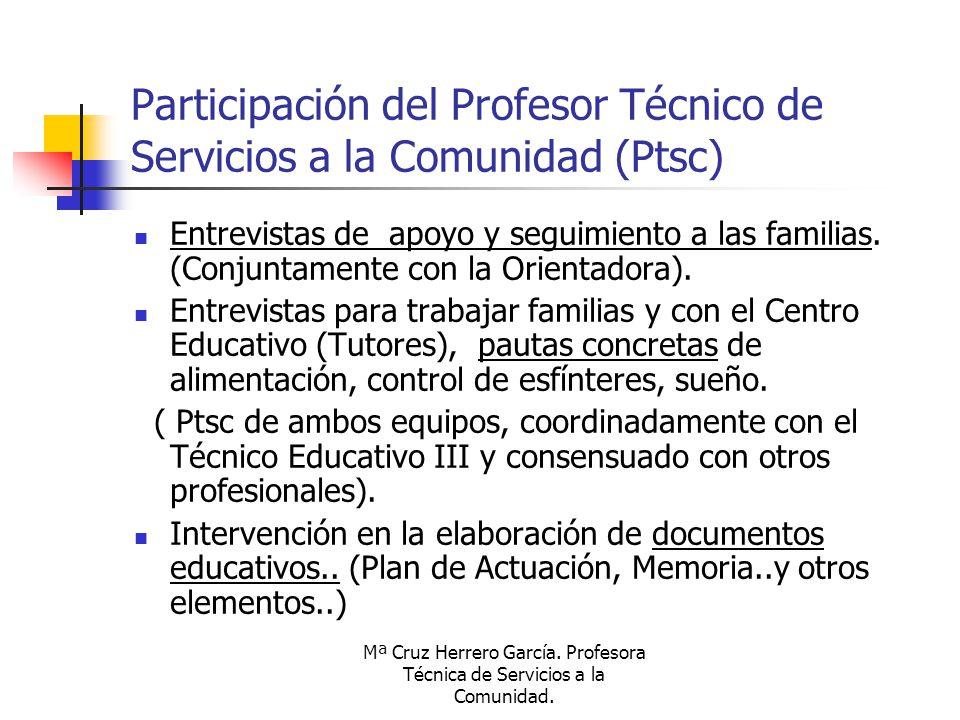 Mª Cruz Herrero García. Profesora Técnica de Servicios a la Comunidad. Participación del Profesor Técnico de Servicios a la Comunidad (Ptsc) Entrevist