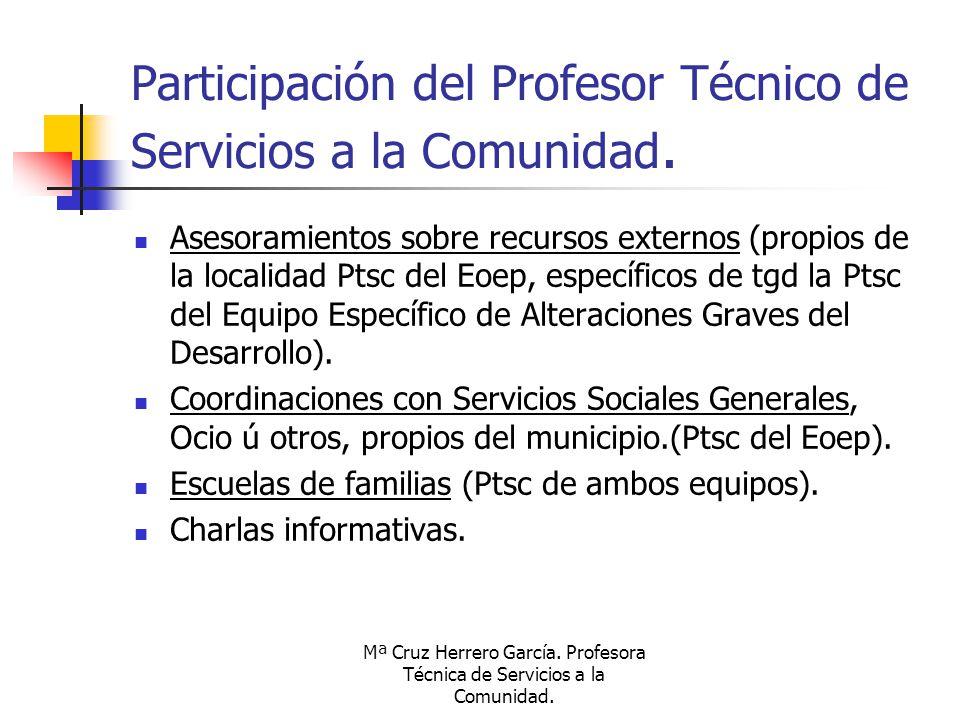Mª Cruz Herrero García. Profesora Técnica de Servicios a la Comunidad. Participación del Profesor Técnico de Servicios a la Comunidad. Asesoramientos