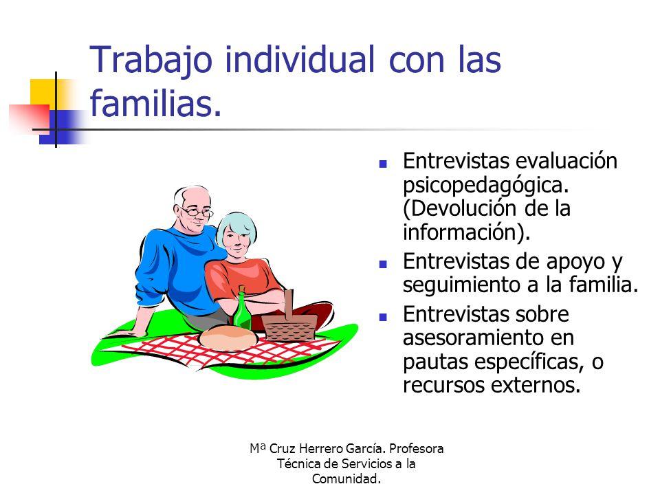 Mª Cruz Herrero García. Profesora Técnica de Servicios a la Comunidad. Trabajo individual con las familias. Entrevistas evaluación psicopedagógica. (D