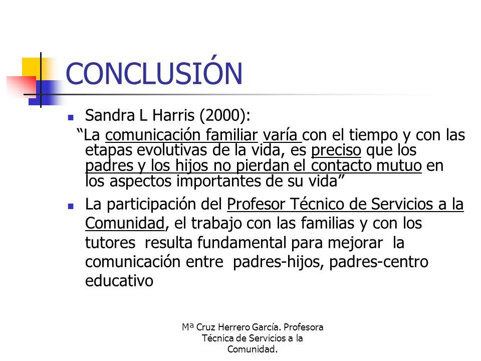 Mª Cruz Herrero García. Profesora Técnica de Servicios a la Comunidad. CONCLUSIÓN Sandra L Harris (2000): La comunicación familiar varía con el tiempo
