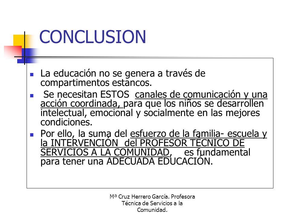 Mª Cruz Herrero García. Profesora Técnica de Servicios a la Comunidad. CONCLUSION La educación no se genera a través de compartimentos estancos. Se ne