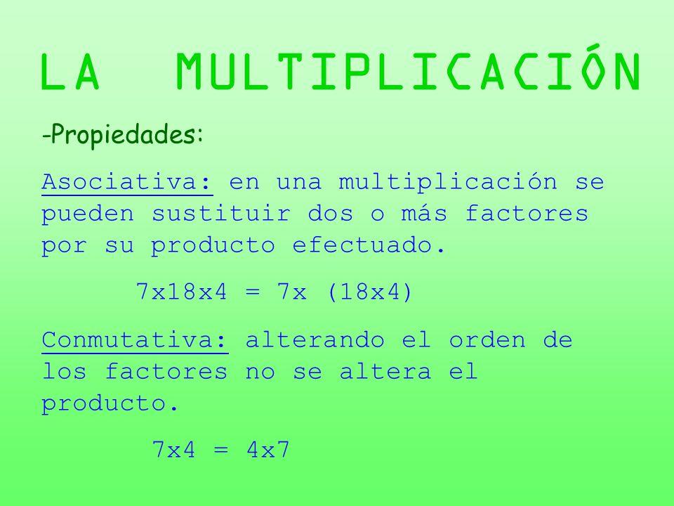 LA MULTIPLICACIÓN -Propiedades: Asociativa: en una multiplicación se pueden sustituir dos o más factores por su producto efectuado. 7x18x4 = 7x (18x4)