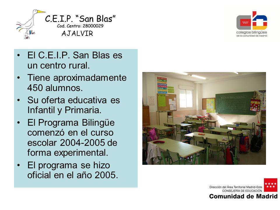 El C.E.I.P. San Blas es un centro rural. Tiene aproximadamente 450 alumnos. Su oferta educativa es Infantil y Primaria. El Programa Bilingüe comenzó e