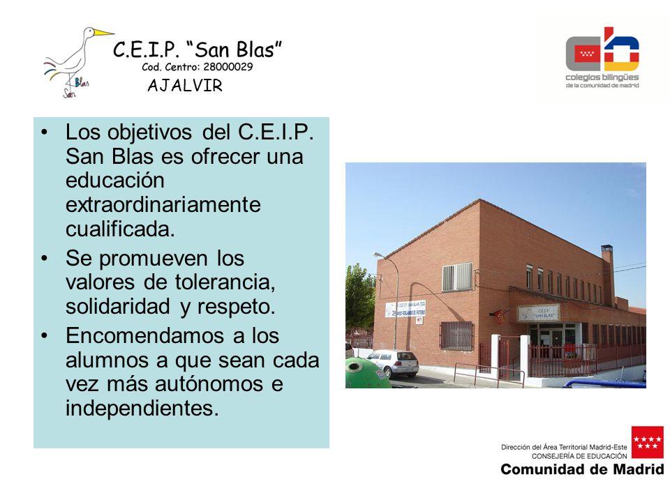 Los objetivos del C.E.I.P. San Blas es ofrecer una educación extraordinariamente cualificada. Se promueven los valores de tolerancia, solidaridad y re