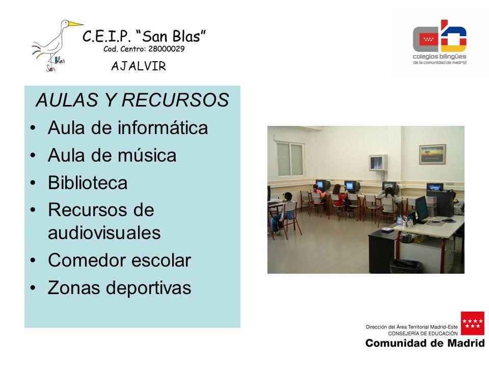 AULAS Y RECURSOS Aula de informática Aula de música Biblioteca Recursos de audiovisuales Comedor escolar Zonas deportivas AJALVIR