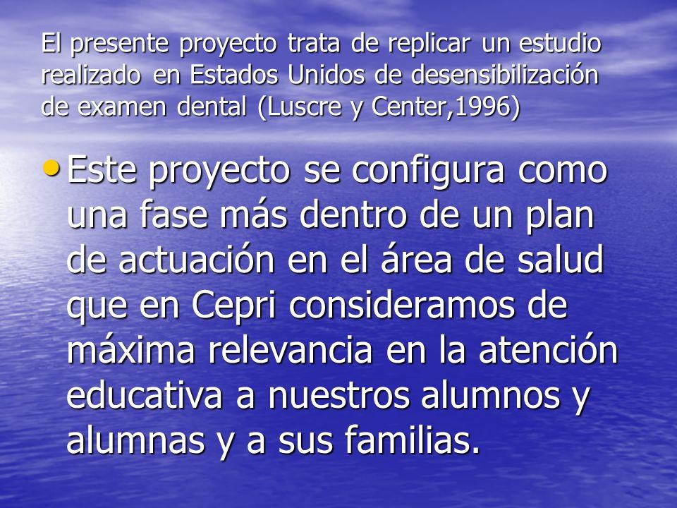 El presente proyecto trata de replicar un estudio realizado en Estados Unidos de desensibilización de examen dental (Luscre y Center,1996) Este proyec